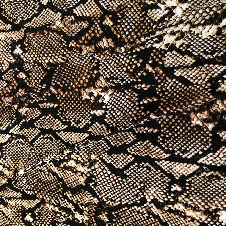 Tecido Malha Otoman Estampado Cobra Marron
