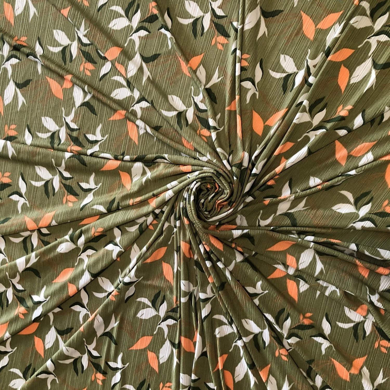 Tecido Malha Otoman Estampado Verde Oliva