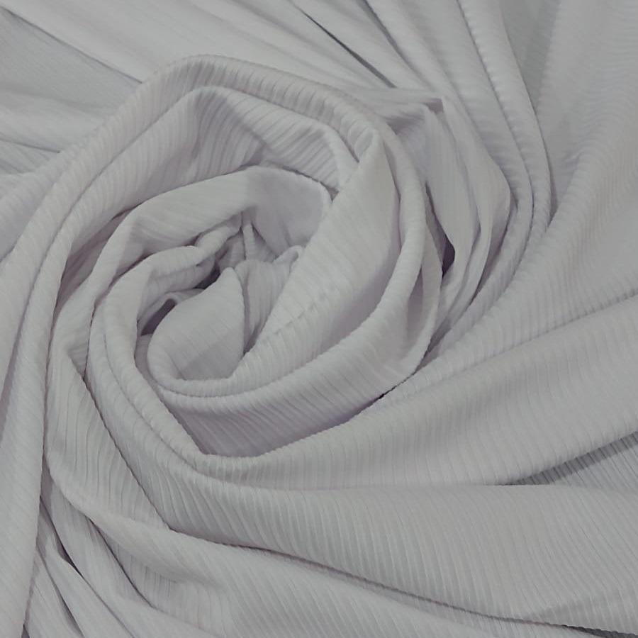 Tecido Malha Rib Dyed Canelada Poly Spandex Cor Branco