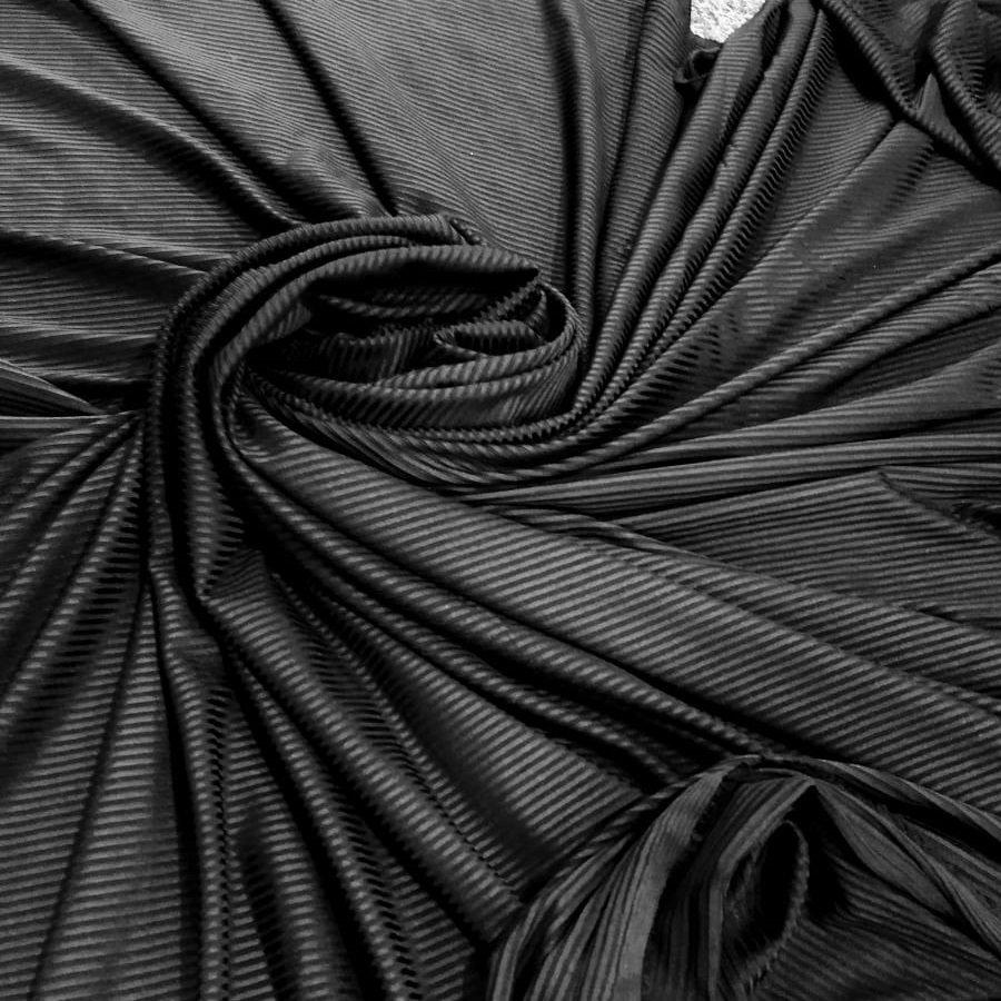 Tecido Malha Rib Dyed Canelada Poly Spandex Cor Preto