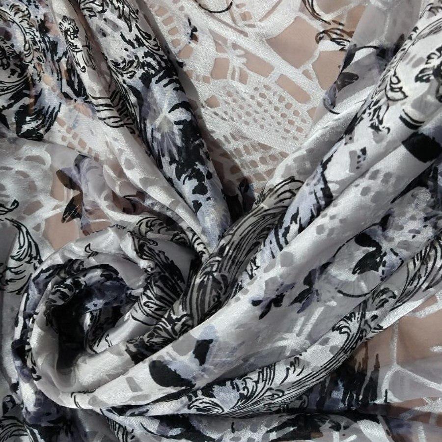 Tecido Musseline Com Devore De Seda Pura Cor Branco e Preto Acetinado