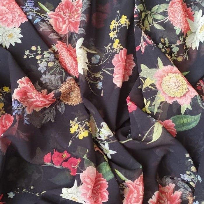 Tecido Musseline Estampada Digital Floral