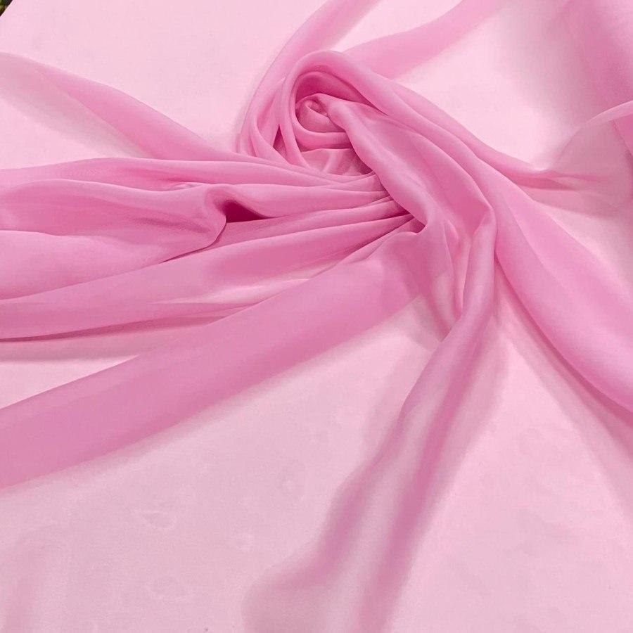 Tecido Musseline Palha de Seda Rosa Chiclete