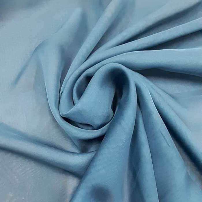 Tecido Musseline Toque de Seda Azul Aço