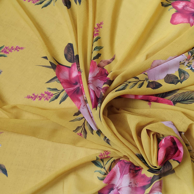 Tecido Musseline Toque de Seda Estampado Floral Amarelo