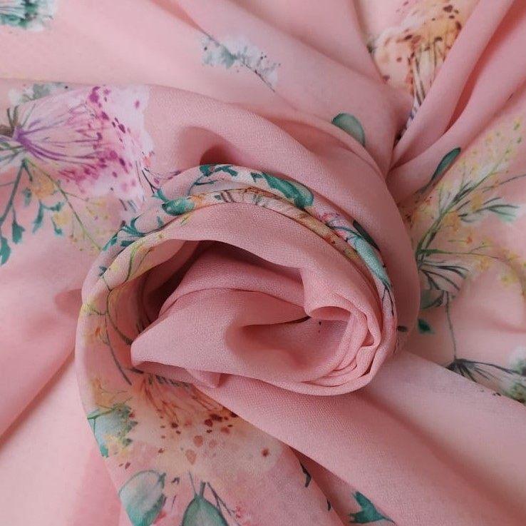 Tecido Musseline Toque de Seda Estampado Floral Aquarela Fundo Papaya