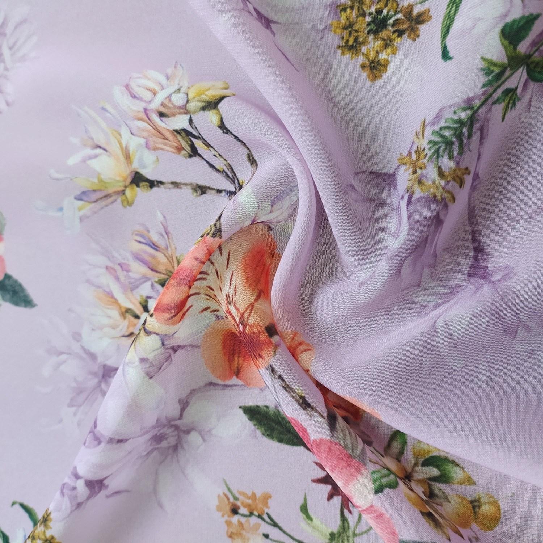 Tecido Crepe Musseline Toque de Seda Estampado Floral Lavanda