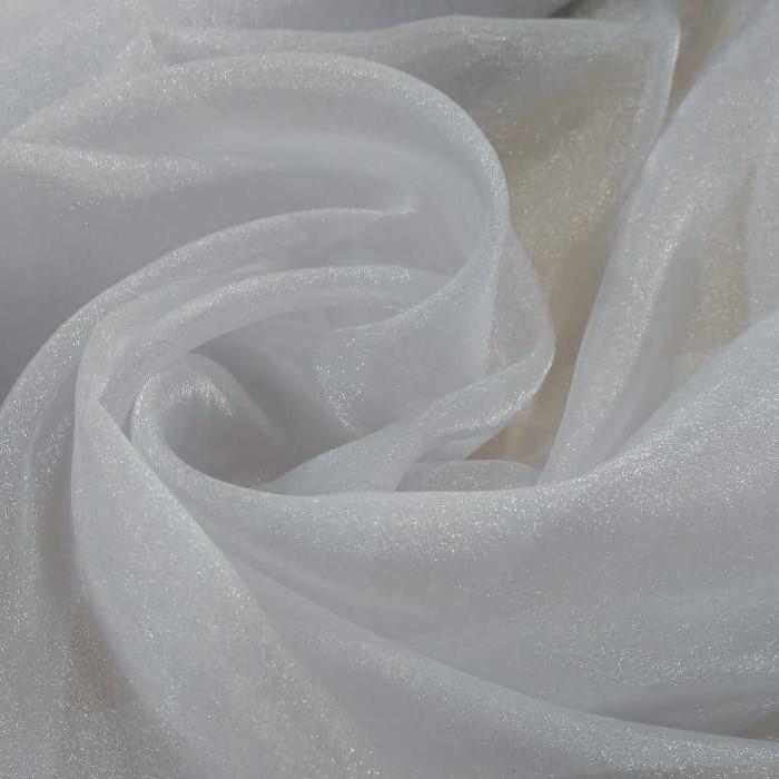 Tecido Organza Cristal Com Efeito De Tecido Com  Glitter Cor Branco