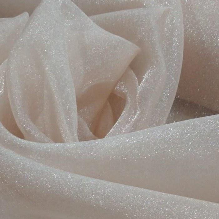 Tecido Organza Cristal Com Efeito De Tecido Com  Glitter Cor Nude