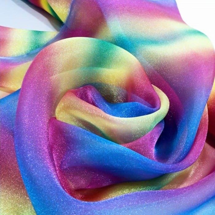 Tecido Organza Cristal Com Efeito De Tecido Com  Glitter Cor Rainbow