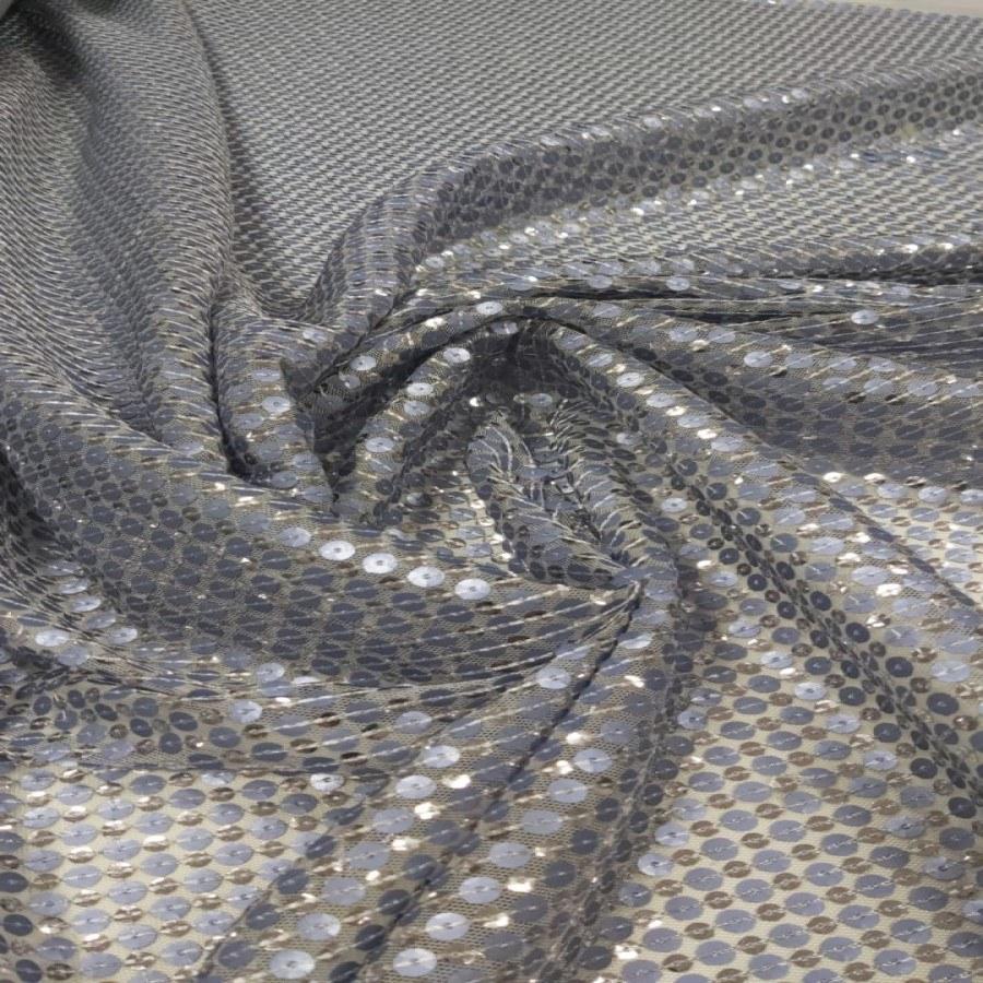 Tecido Paetê Bordado Azul Serenity Com Prata