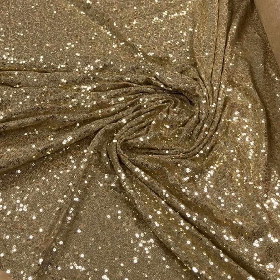 Tecido Paetê Bordado Com Elastano Dourado