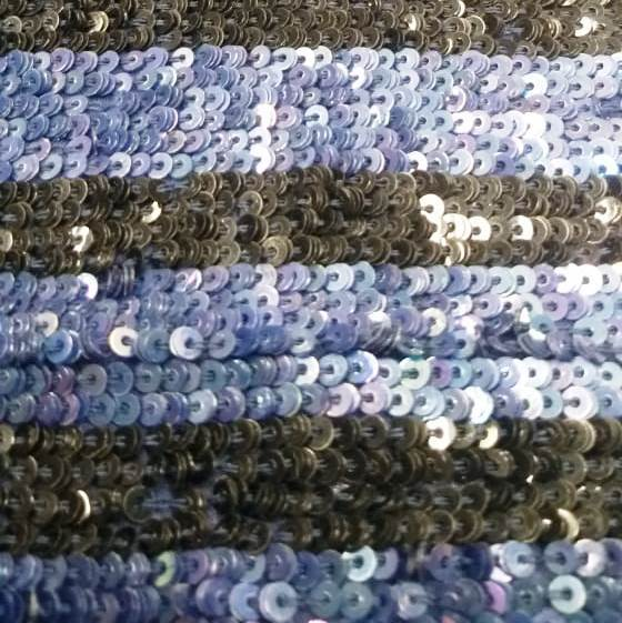 Tecido Paetê Indiano Listrado Azul com Preto