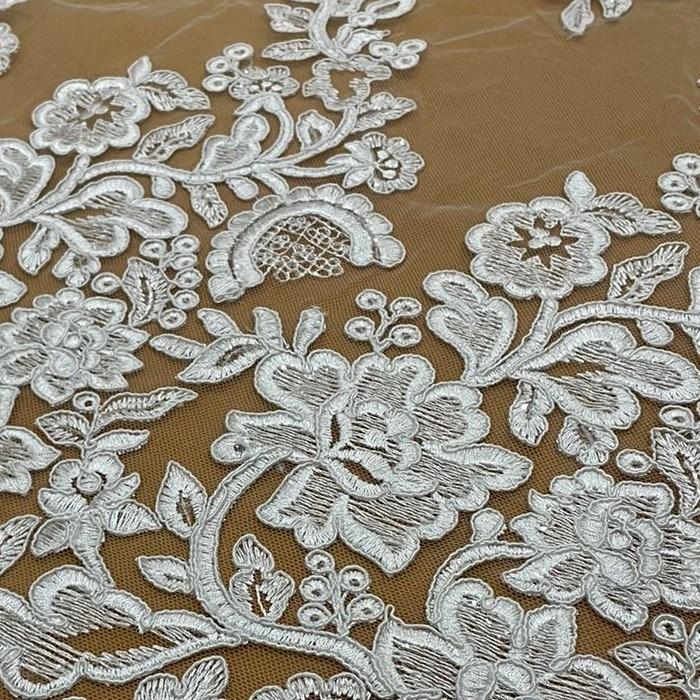 Tecido Renda Barrada Floral Com Paetês Branco