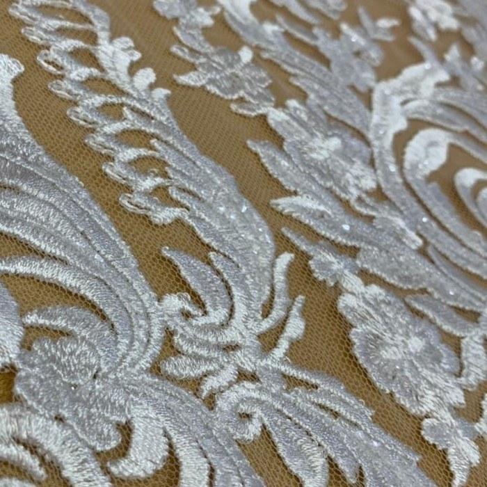 Tecido Renda Barrada Triplo Bordada Floral Com Paetê Branco