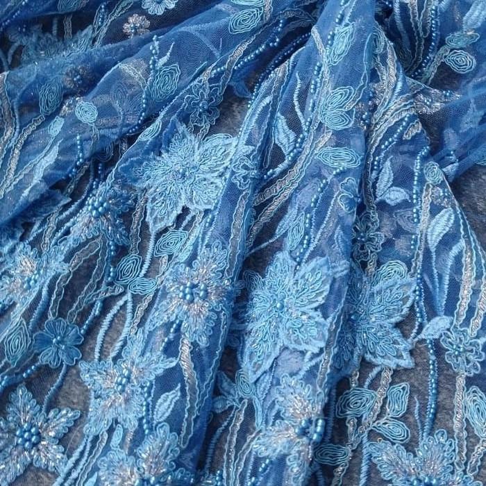Tecido Renda Bordada 3D Floral  Cor Azul Caribe