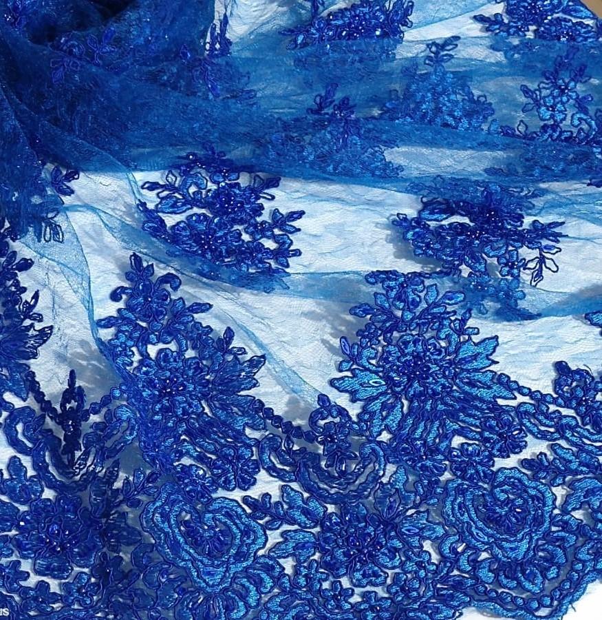 Tecido Renda Bordada Azul Royal