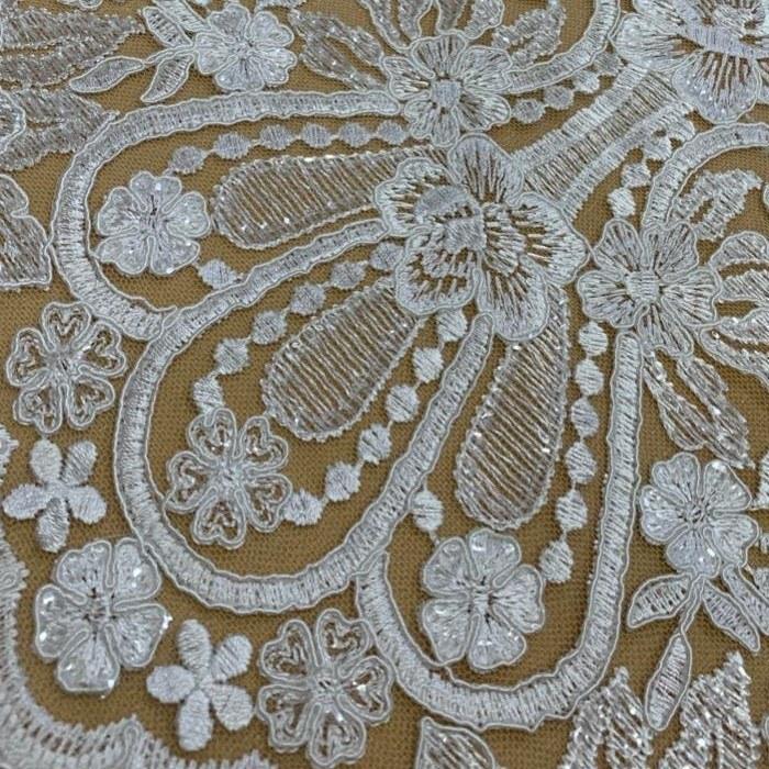 Tecido Renda Bordada Barrada Floral Com Paetê Branco