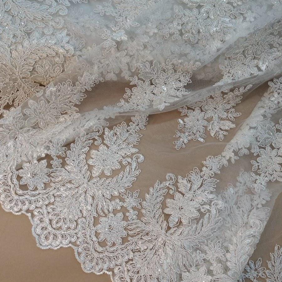 Tecido Renda Bordada Bouquet Floral Cor Branco Perolado