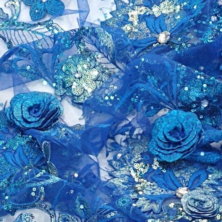 Tecido Renda Bordada 3d Cor Azul Royal