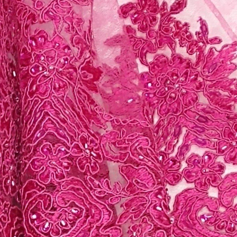 Tecido Renda Bordada Cor Rosa Púrpura