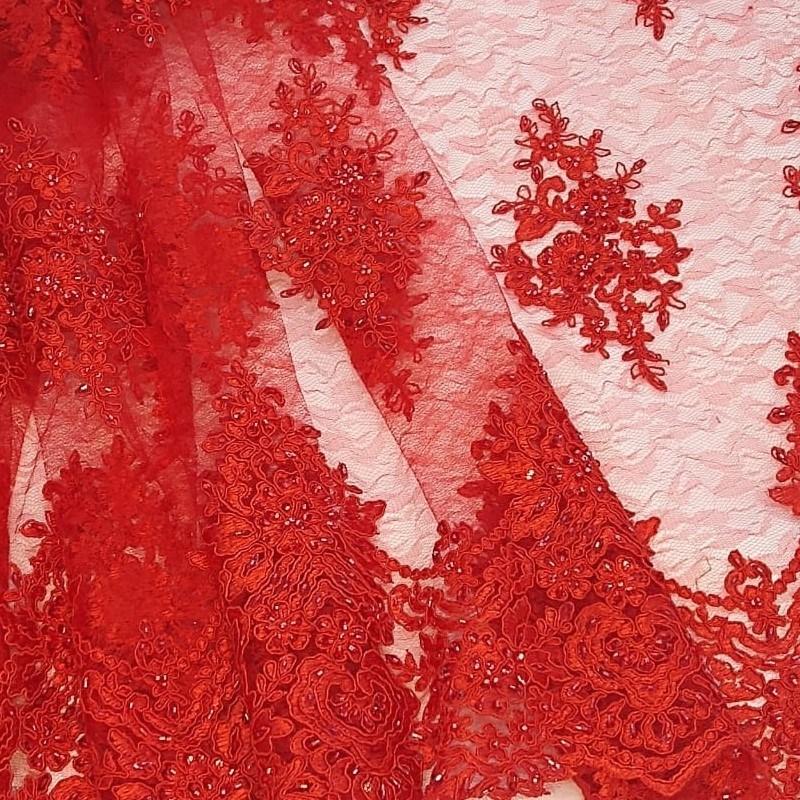 Tecido Tule Bordado Floral Vermelho Ferrari