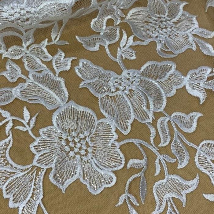 Tecido Renda Bordada Floral Com Paetê Off White