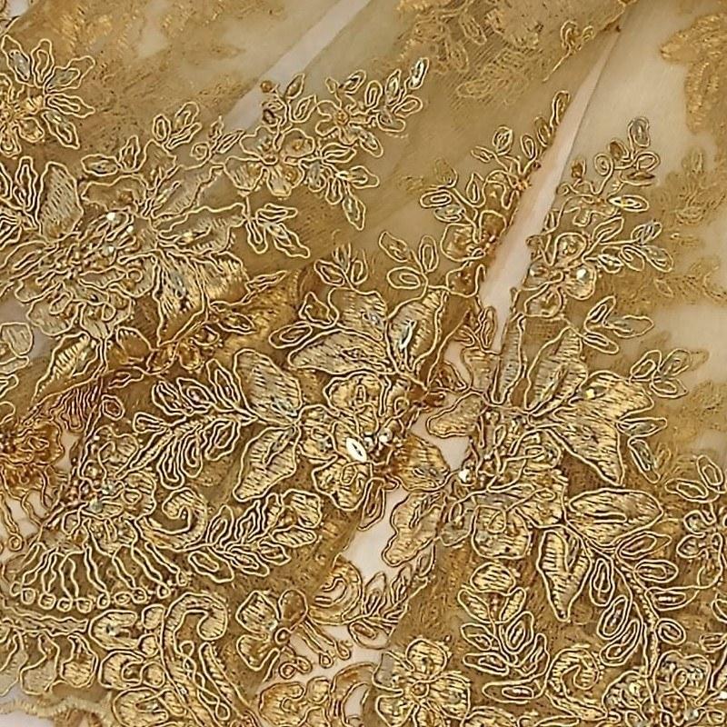 Tecido Renda Bordado Cor Dourado