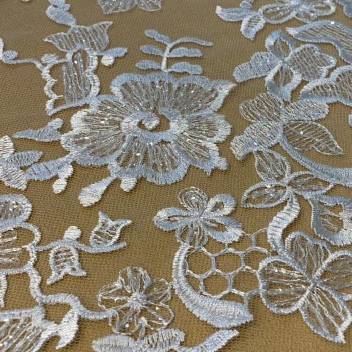 Tecido Renda Com Paetê Bordada Floral Off White