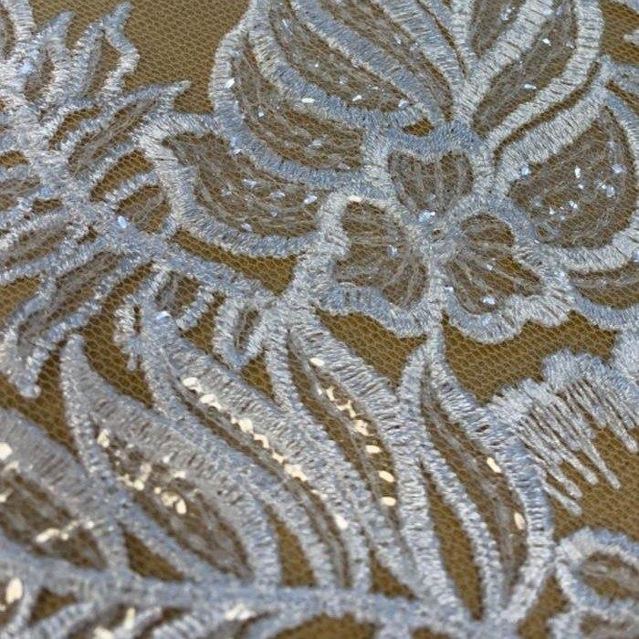 Tecido Renda Floral Bordada Com Paetê Branco