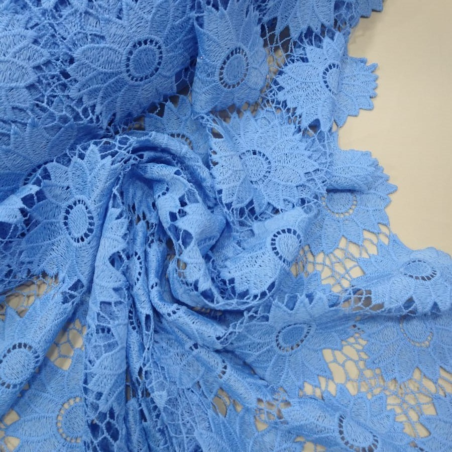 Tecido Renda Guipir Azul Niagara
