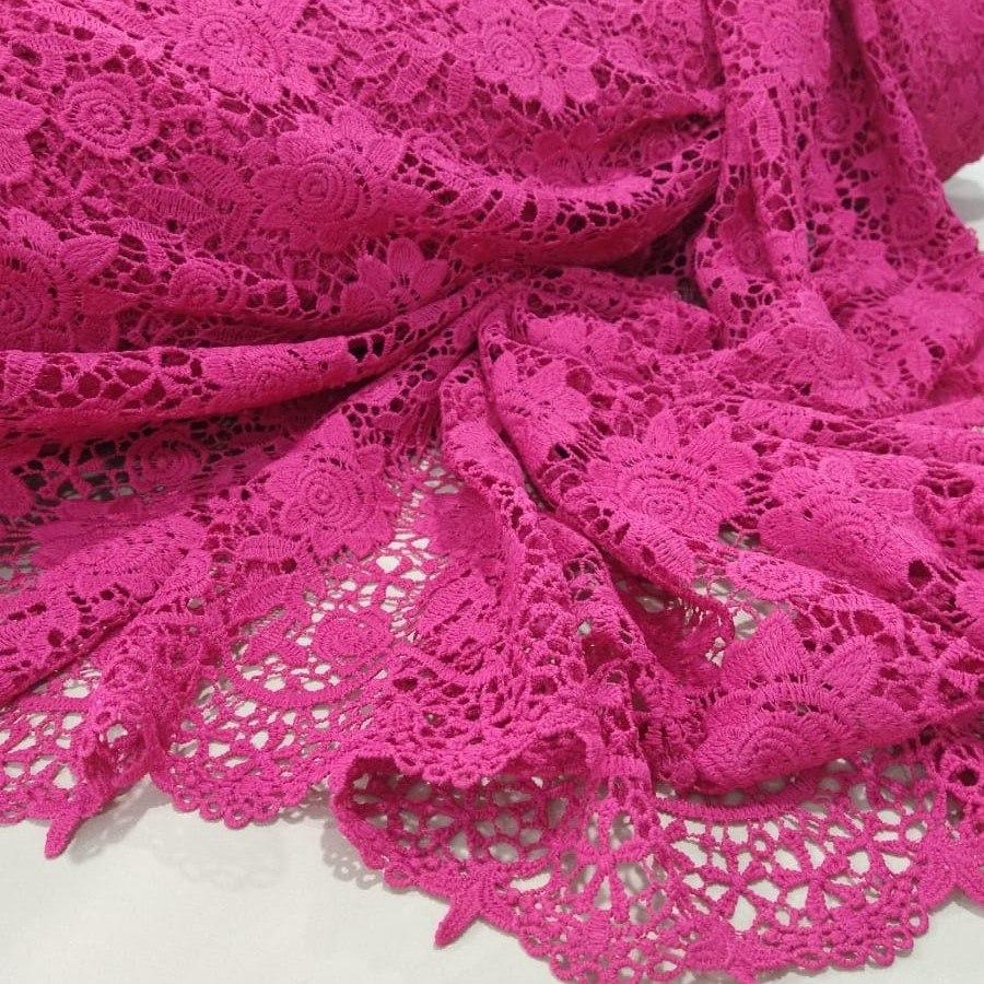 Tecido Renda Guipure Floral Com Barrado Cor Rosa Pink