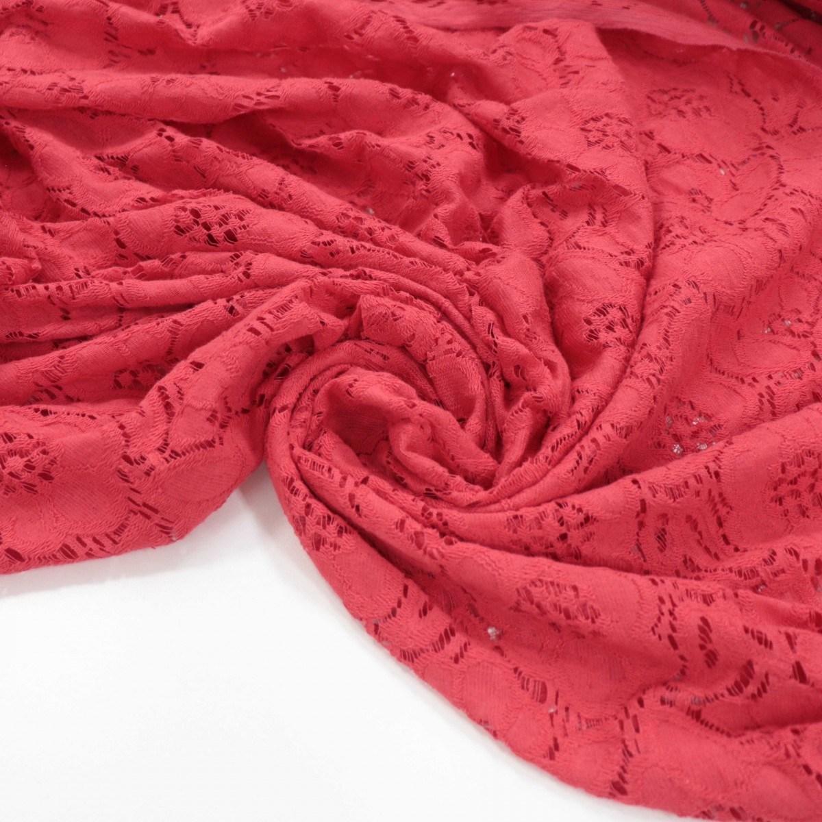 Tecido Renda Macro Floral Vermelho