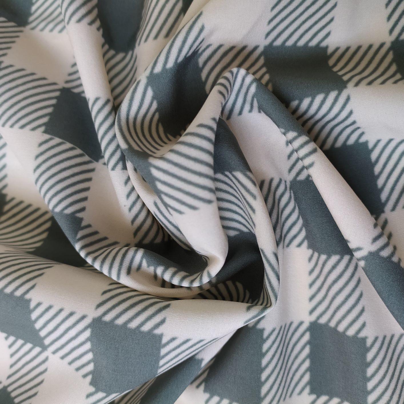 Tecido Santorine Toque de Viscose Estampado Xadrex Vichy Verde Oliva