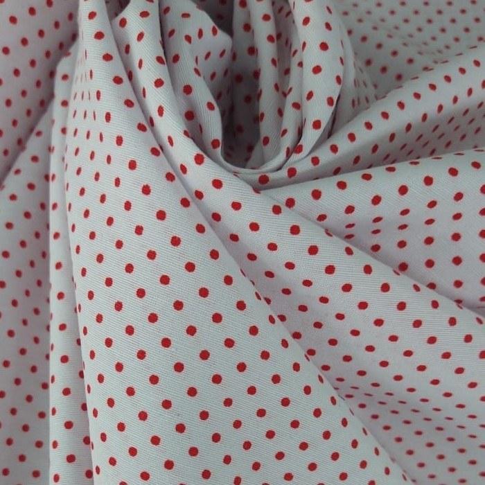 Tecido Tricoline Branco Petit Poá Vermelho