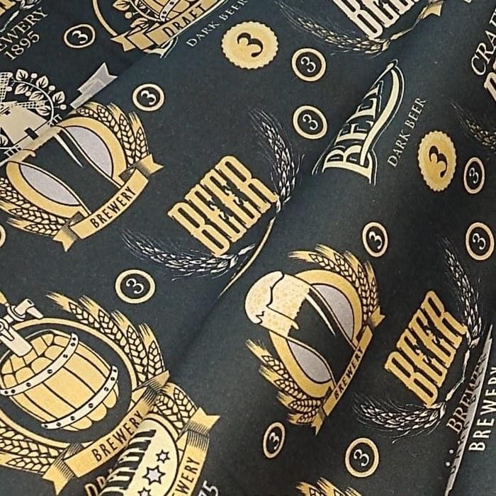Tecido Tricoline Coleção Mestre Cervejeiro Puro Malte Black