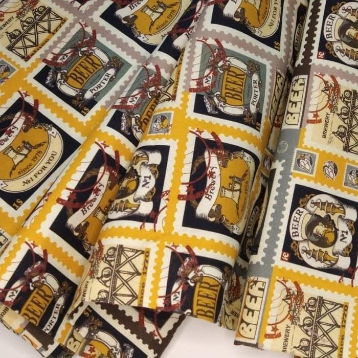 Tecido Tricoline Coleção Mestre Cervejeiro Rótulos Puro Malte