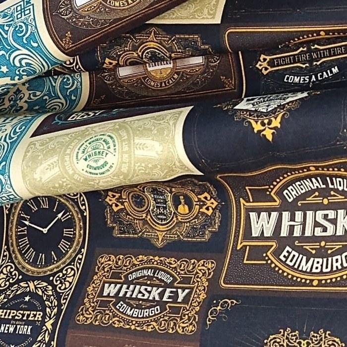 Tecido Tricoline Coleção Mestre Cervejeiro Rótulos Whiskeys