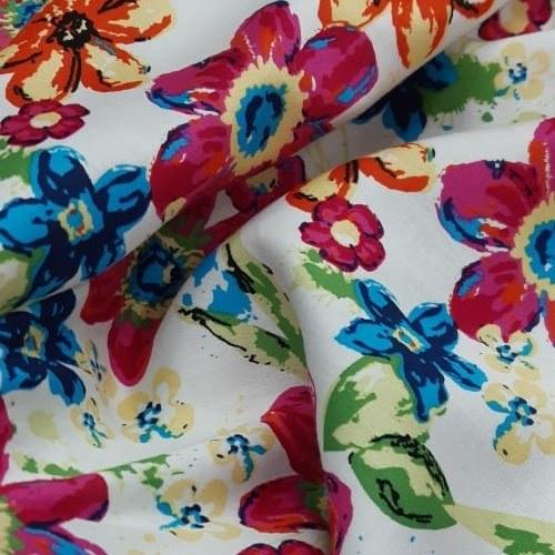 Tecido Tricoline Estampada Floral Fundo Off White