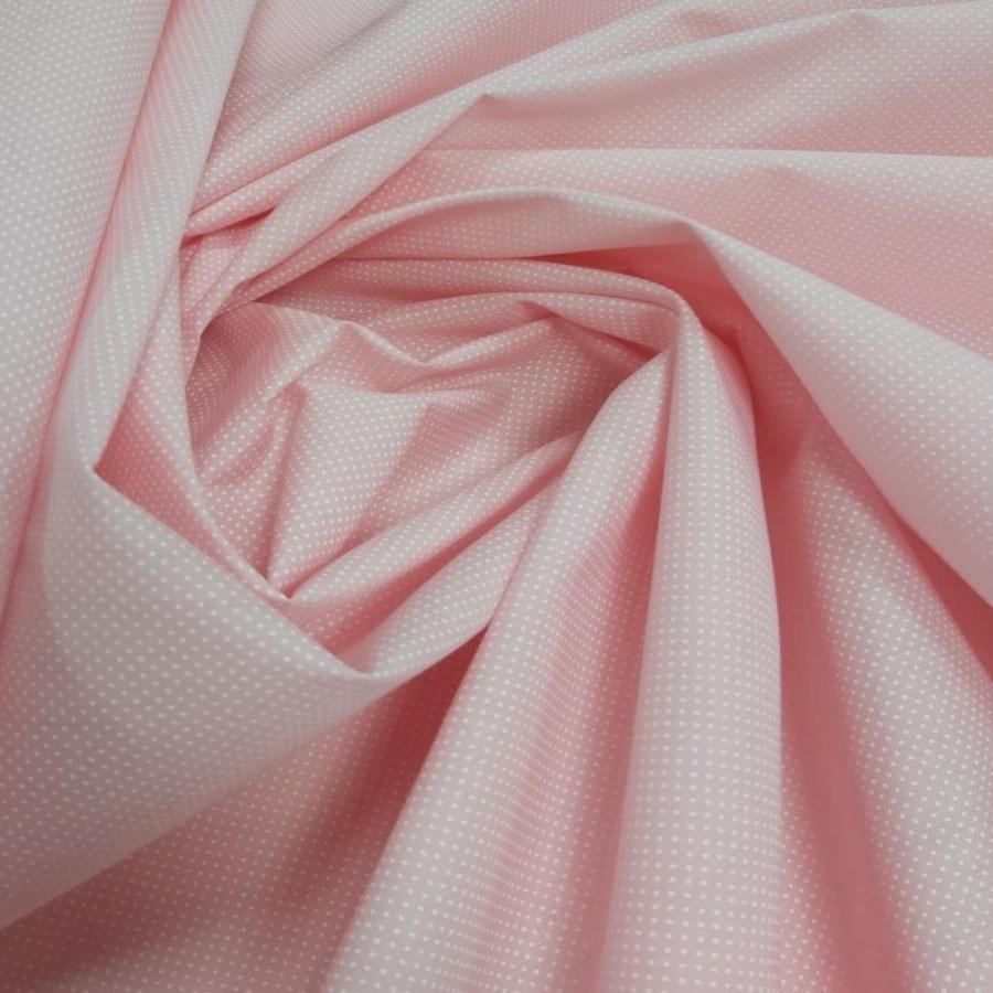 Tecido Tricoline Estampada Petit Poá Branco Fundo Rosa 100% Algodão