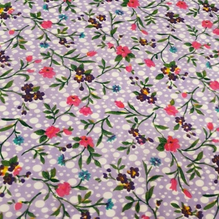 Tecido Tricoline Estampado Floral Rosa