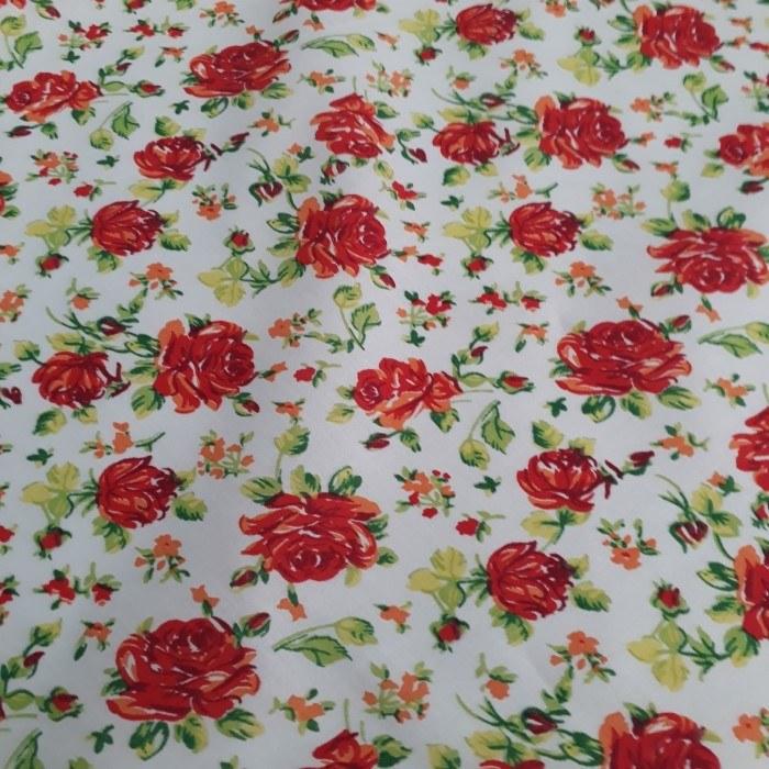 Tecido Tricoline Estampado Floral Vermelho