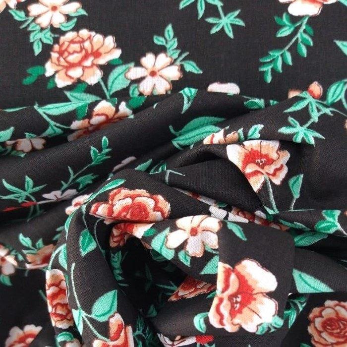 Tecido Tricoline Floral Preto
