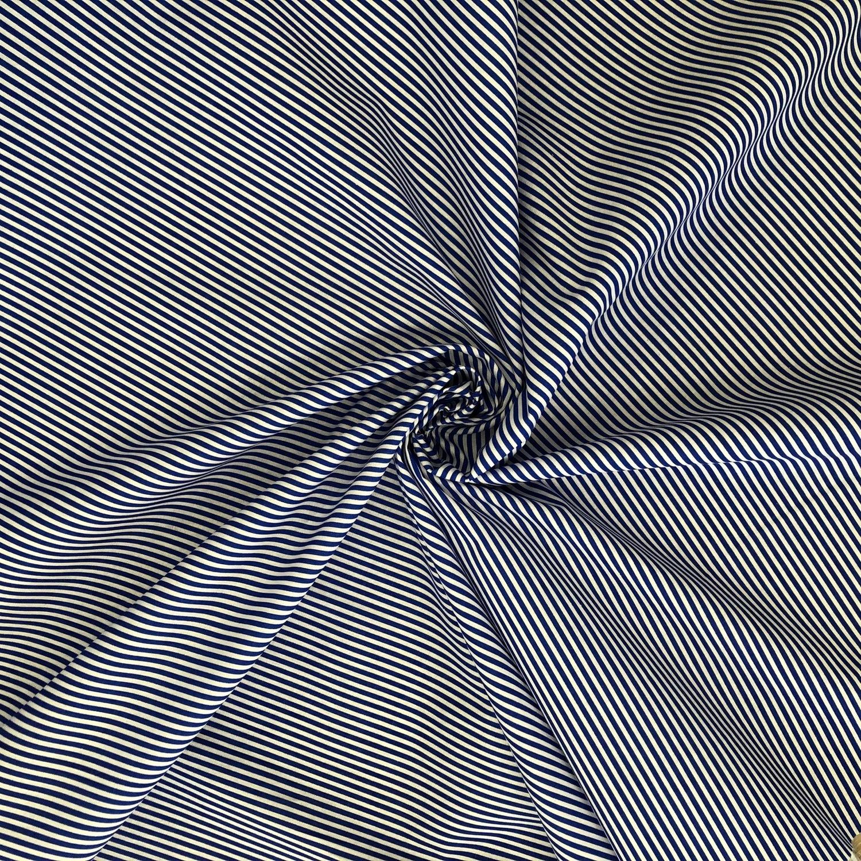 Tecido Tricoline Listrada Azul/Branco