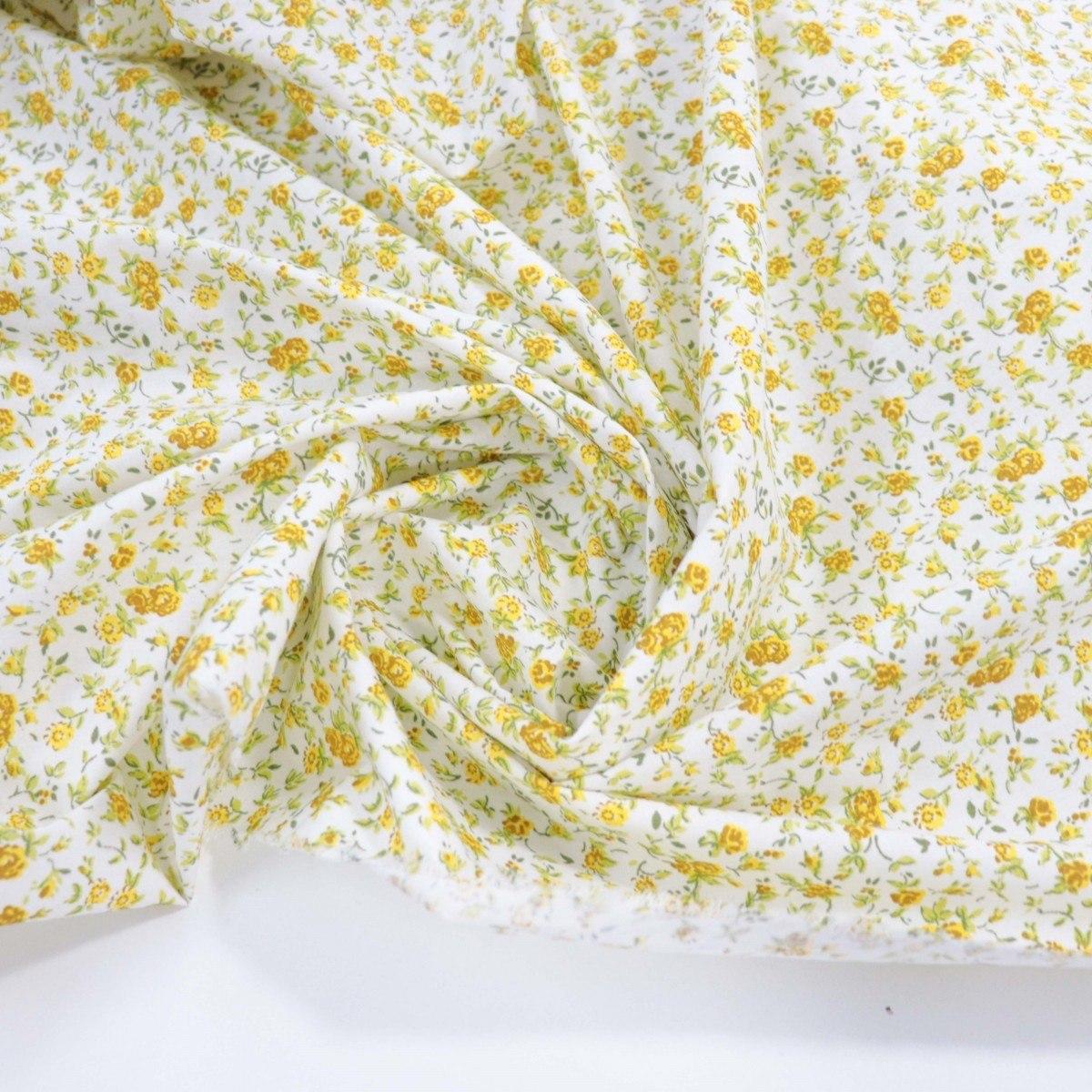 Tecido Tricoline Micro Floral Amarelo e Branco