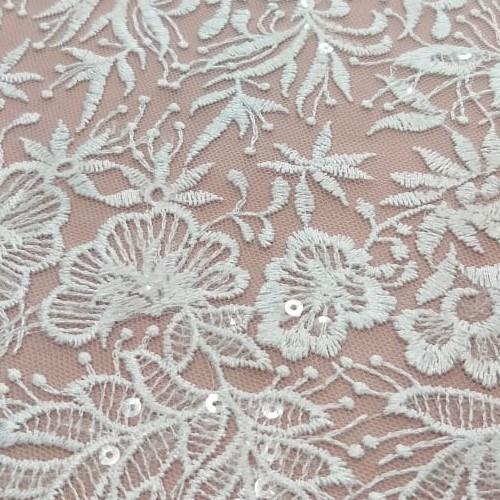 Tecido Tule Barrado Bordado Floral Com Micros Paetê Transparente