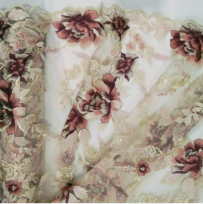 Tecido Tule Borcado Floral