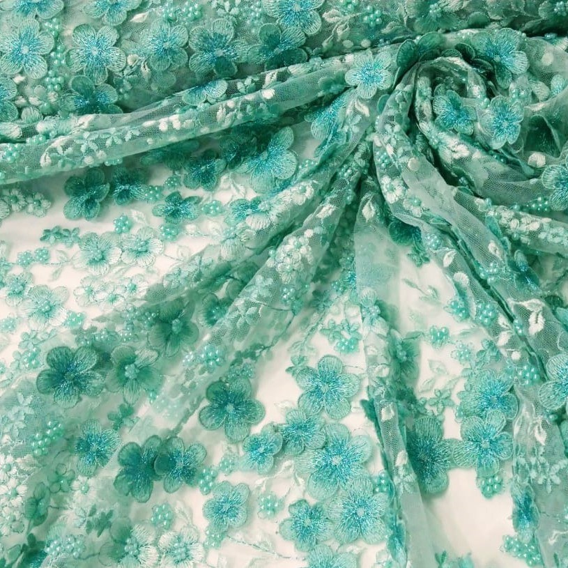 Tecido Tule Bordado 3D Floral Verde Água