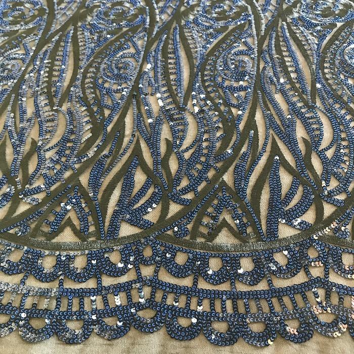 Tecido Tule Bordado Arabesco Com Paetê Azul com Preto
