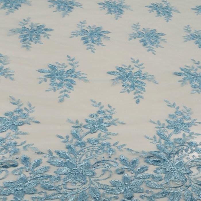 Tecido Tule Bordado Azul Serenity